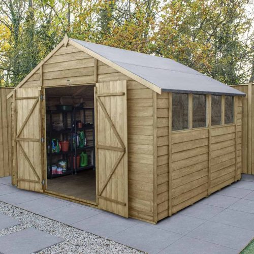 Overlap Pressure Treated 10×10 Apex Shed – Double Door