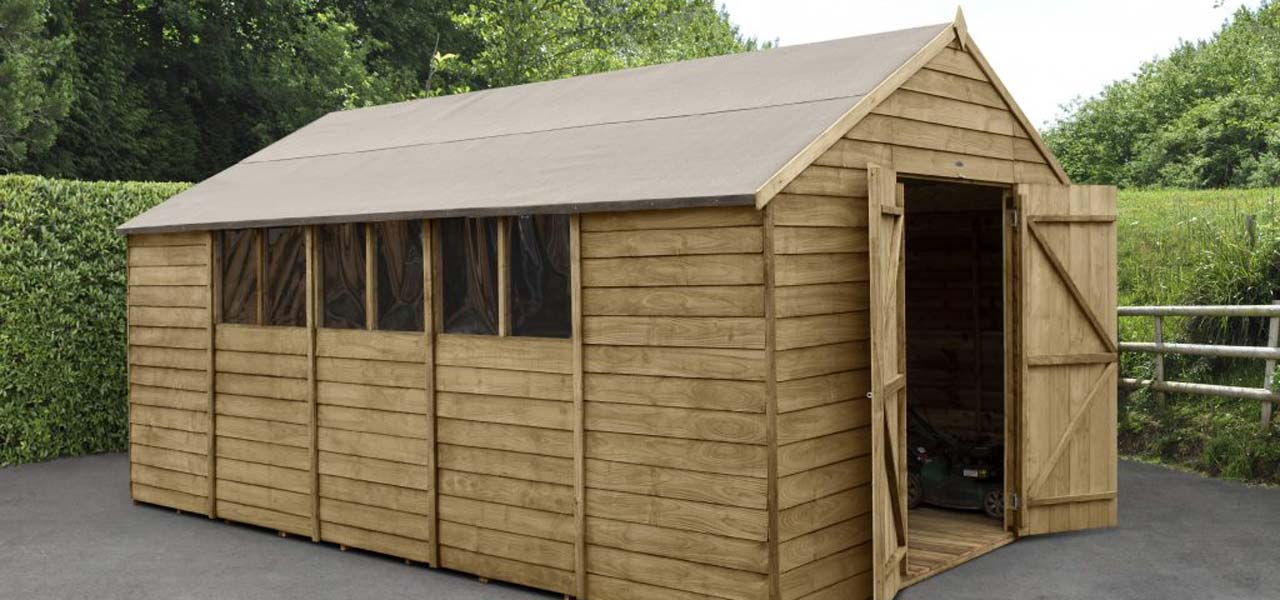Overlap Pressure Treated 10×15 Apex Shed – Double Door