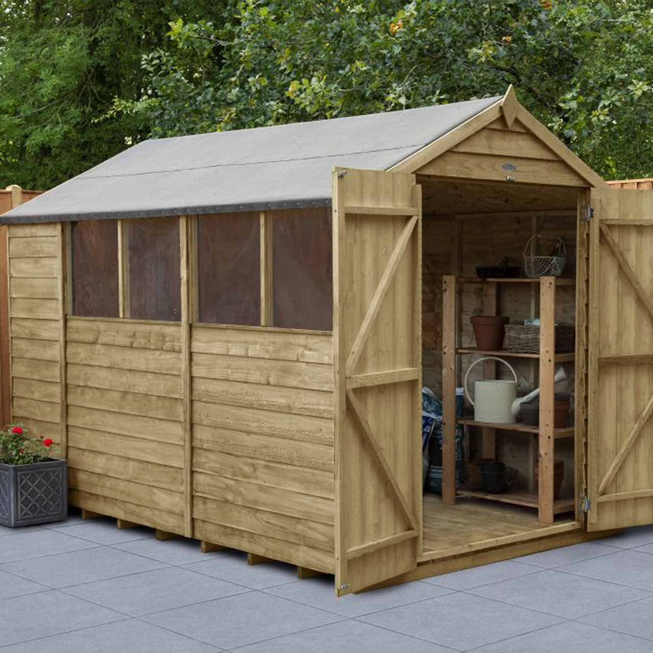 Overlap Pressure Treated 10×6 Apex Shed – Double Door