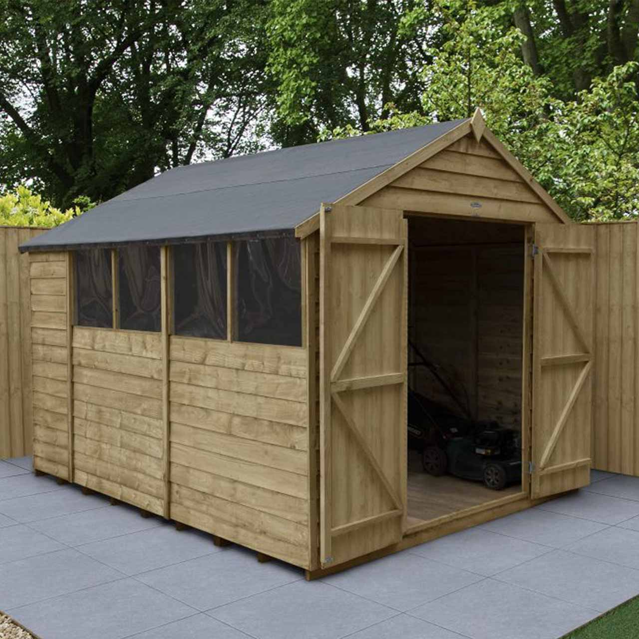 Overlap Pressure Treated 10×8 Apex Shed – Double Door