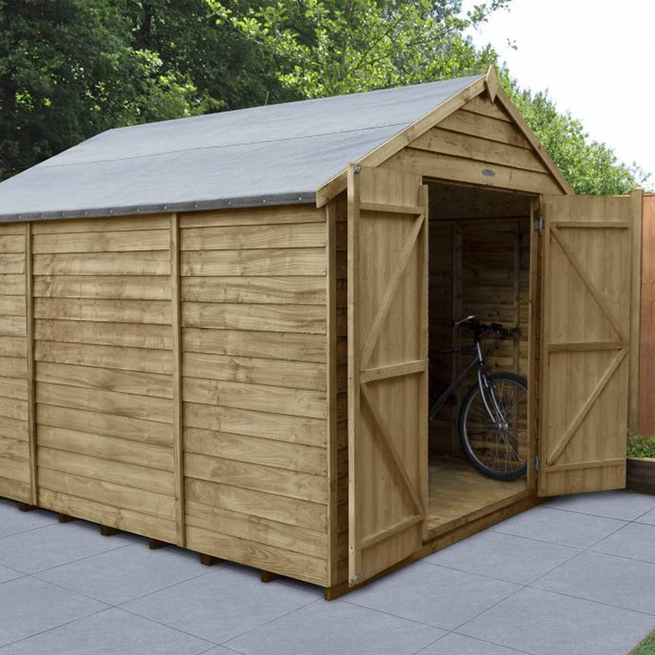 Overlap Pressure Treated 10×8 Apex Shed – Double Door, No Windows