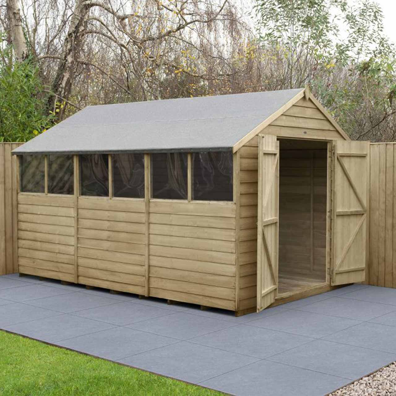 Overlap Pressure Treated 12×8 Apex Shed – Double Door