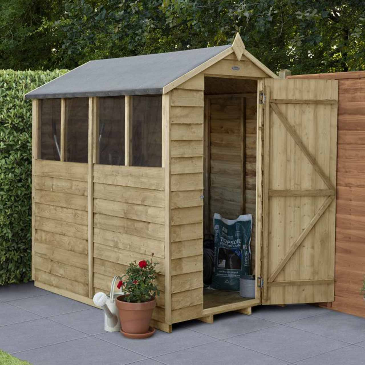 Overlap Pressure Treated 6×4 Apex Shed- 4 Window
