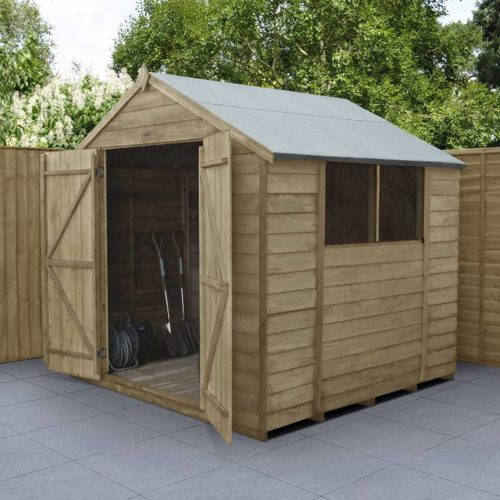 Overlap Pressure Treated 7×7 Apex Shed – Double Door
