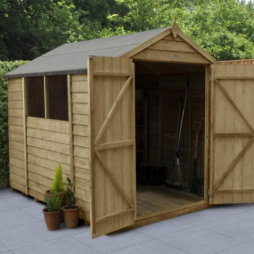 Overlap Pressure Treated 8×6 Apex Shed – Double Door