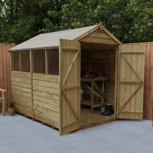 Overlap Pressure Treated 8×6 Apex Shed – Double Door, 4 Windows
