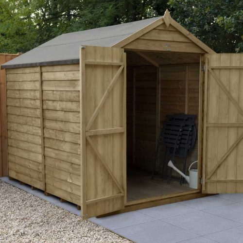 Overlap Pressure Treated 8×6 Apex Shed – Double Door, No Windows