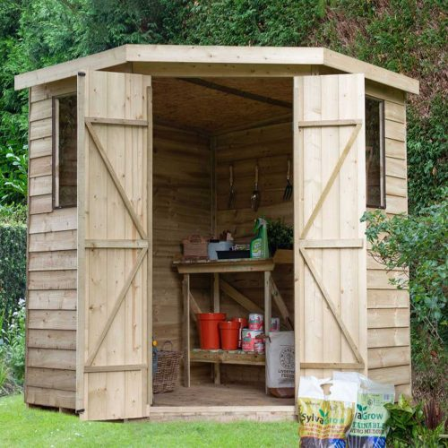 Overlap Pressure Treated 7×7 Corner Shed