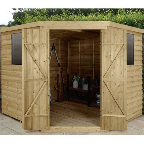 Overlap Pressure Treated 8×8 Corner Shed