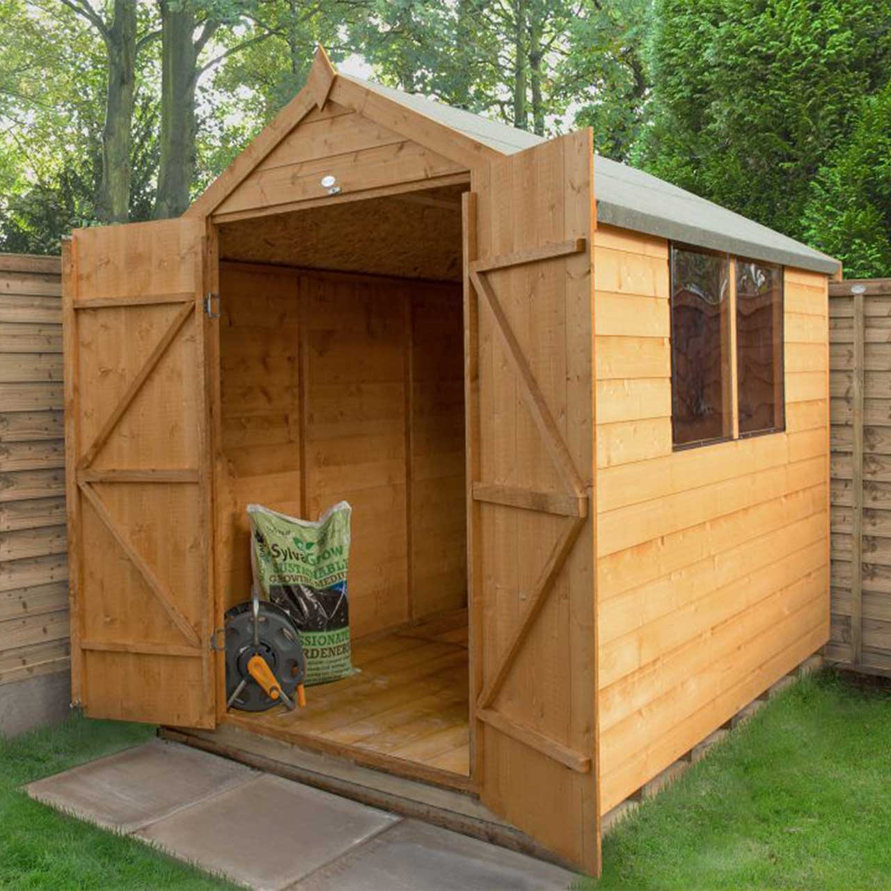 Shiplap Dip Treated 8×6 Apex Shed – Double Door