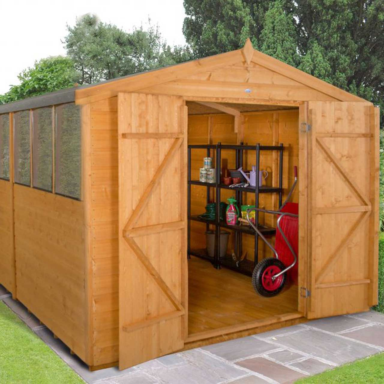 Shiplap Dip Treated 12×8 Apex Shed – Double Door