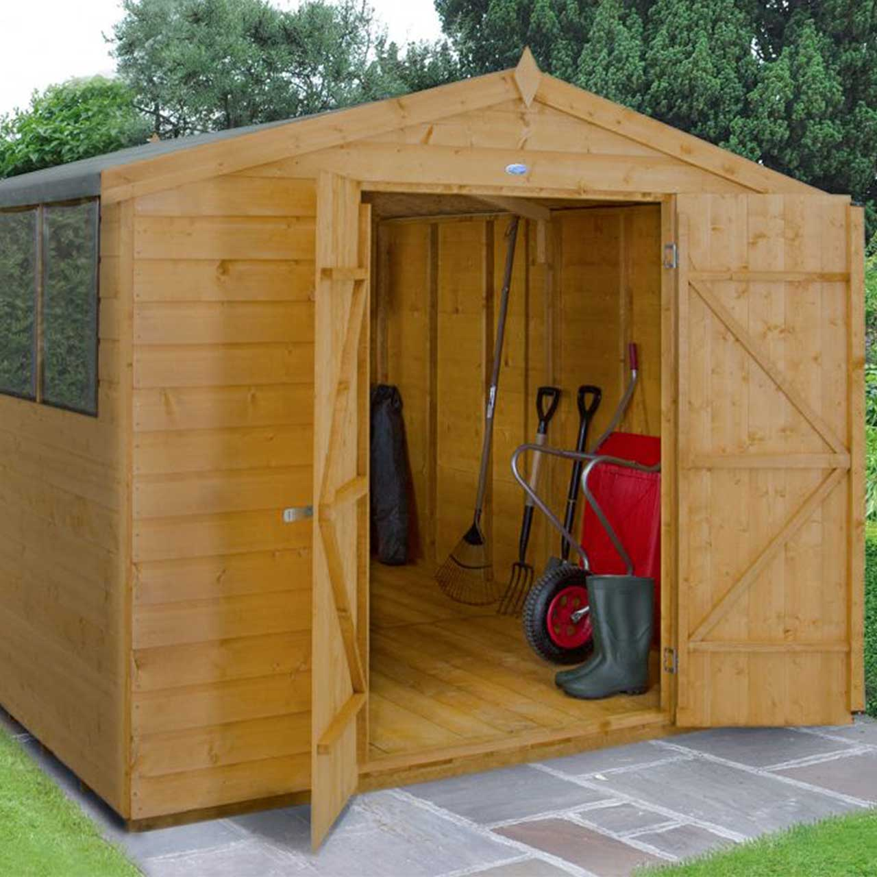 Shiplap Dip Treated 10×8 Apex Shed – Double Door