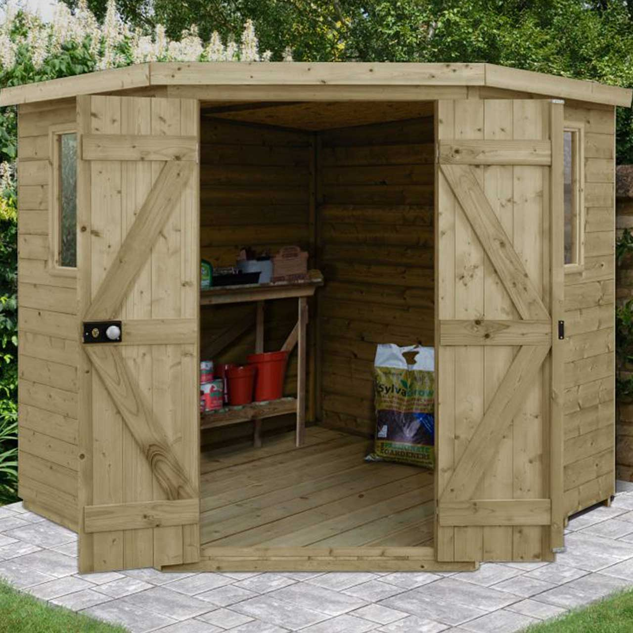 Tongue & Groove Pressure Treated 7×7 Corner Shed