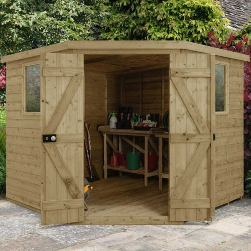 Tongue & Groove Pressure Treated 8×8 Corner Shed