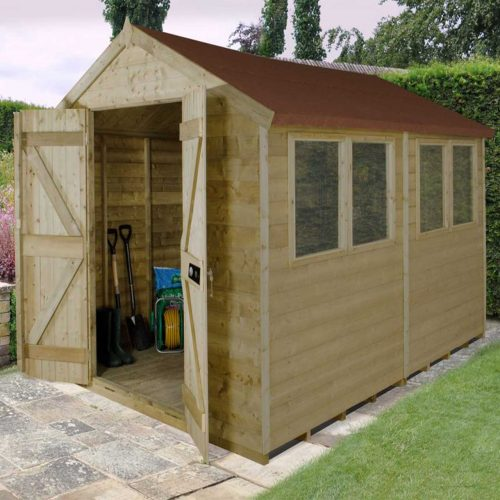 Tongue & Groove Pressure Treated 10×8 Apex Shed – Double Door