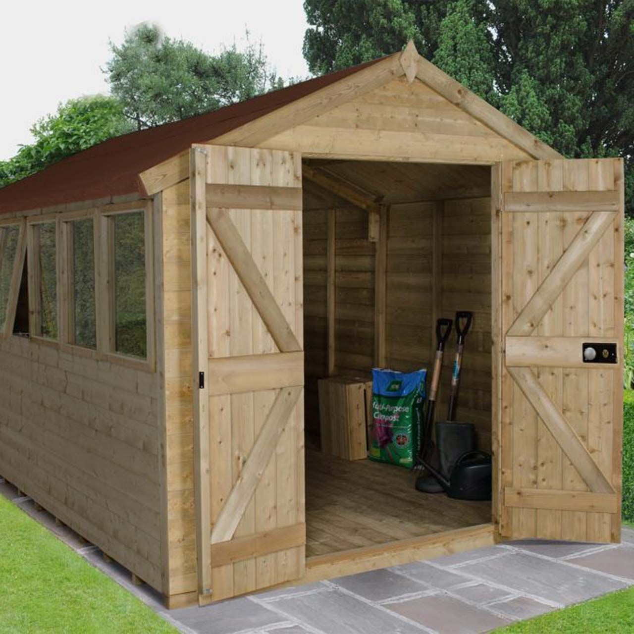 Tongue & Groove Pressure Treated 12×8 Apex Shed – Double Door