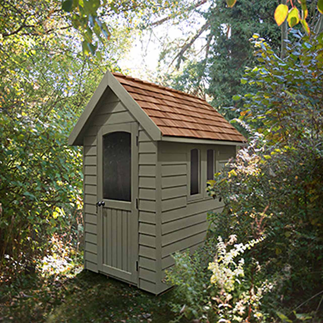 Redwood Lap Forest Retreat 6×4 Shed – Moss Green - Installed