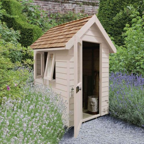 Redwood Lap Forest Retreat 6×4 Shed – Natural Cream - Installed
