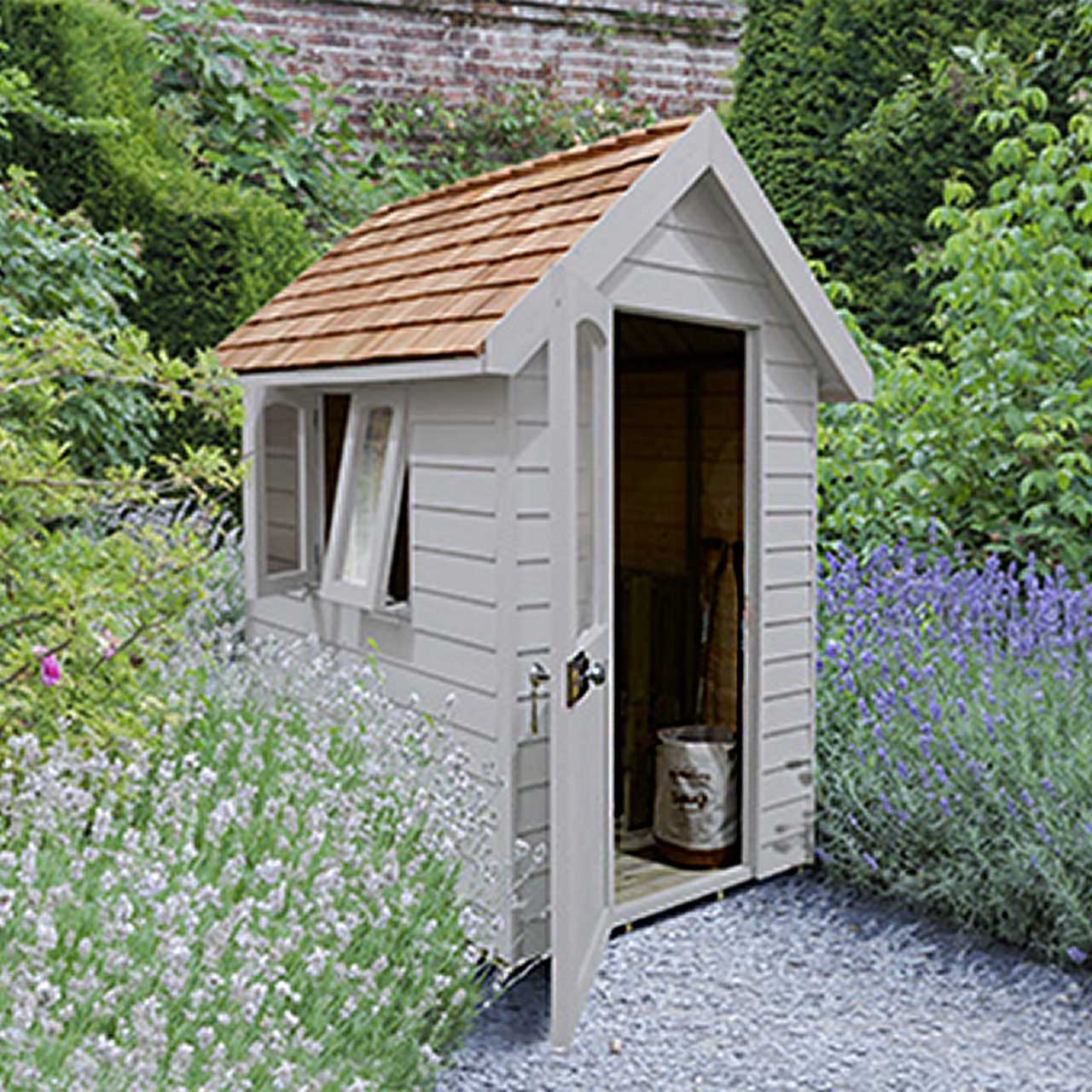 Redwood Lap Forest Retreat 6×4 Shed – Pebble Grey - Installed