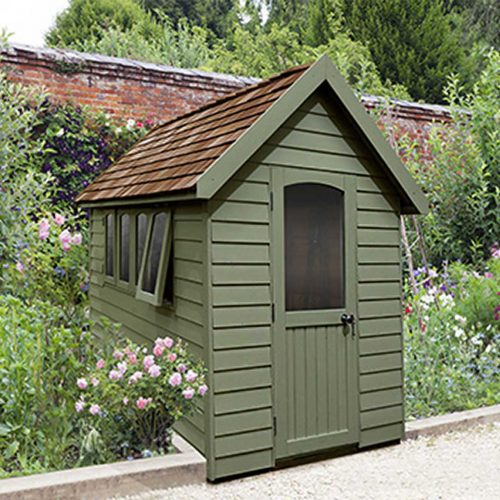 Redwood Lap Forest Retreat 8×5 Shed – Moss Green - Installed