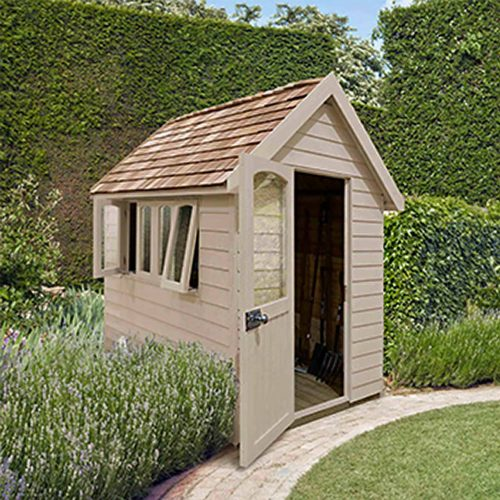 Redwood Lap Forest Retreat 8×5 Shed – Natural Cream - Installed
