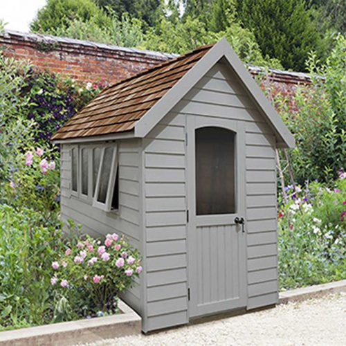 Redwood Lap Forest Retreat 8×5 Shed – Pebble Grey - Installed
