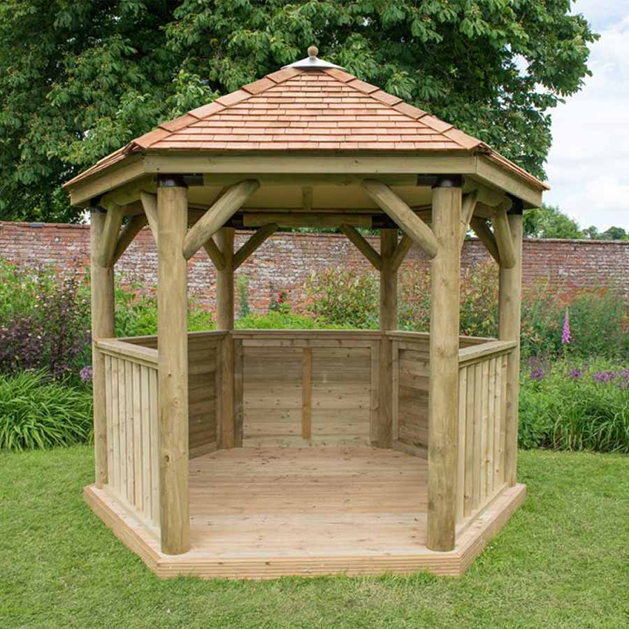 3m Premium Hexagonal Wooden Garden Gazebo with Cedar Roof - Installed