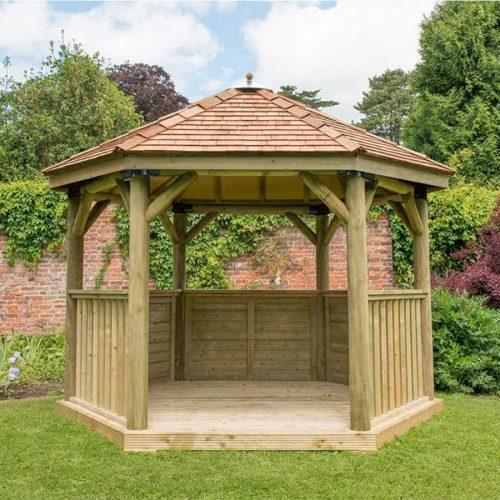 3.6m Premium Hexagonal Wooden Garden Gazebo with Cedar Roof - Installed