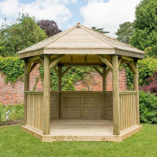 3.6m Premium Hexagonal Wooden Garden Gazebo with Timber Roof - Installed