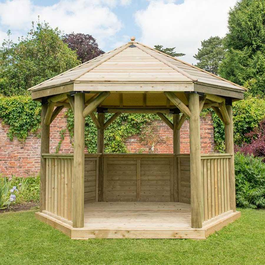 3.6m Premium Hexagonal Wooden Garden Gazebo with Timber Roof - Installed