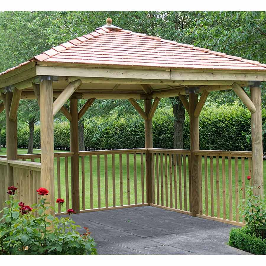 3.5m Premium Square Wooden Gazebo with Cedar Roof – No Base - Installed