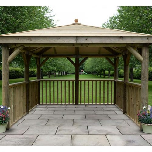 3.5m Premium Square Wooden Gazebo with Timber Roof – No Base - Installed
