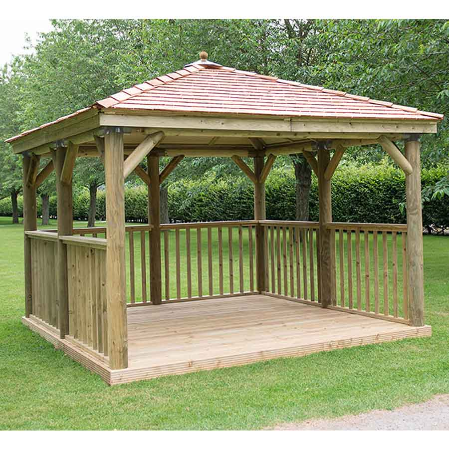 3.5m Premium Square Wooden Gazebo with Cedar Roof – Inc Base - Installed