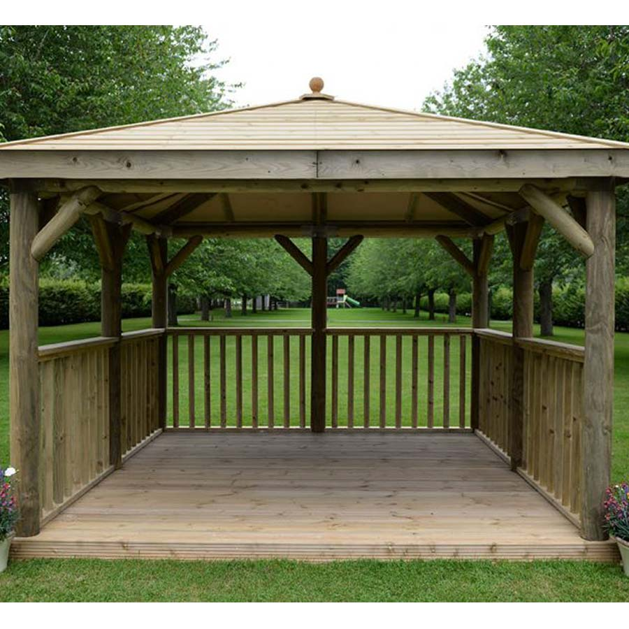 3.5m Premium Square Wooden Gazebo with Timber Roof – Inc Base - Installed