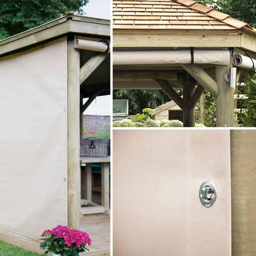 3m Premium Hexagonal Wooden Garden Gazebo Curtains – Installed