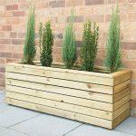 Linear Wooden Rectangular Planter